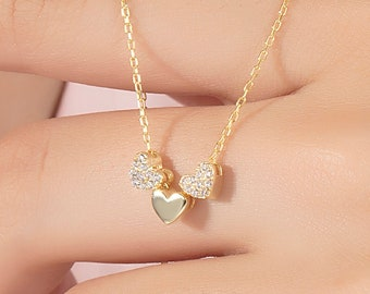Dainty Three Hearts Gold Diamond Necklace, 10k 14k 18k Solid Gold Necklace, 3 Hearts Gold Diamond Necklace is a Great Gift for Best Friend