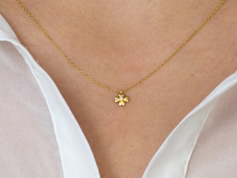 Gold Lucky Clover Diamond Necklace in 14k Gold Four Leaf Clover Necklace Perfect Gift for Her 14k Solid Gold Clover Necklace With Diamond