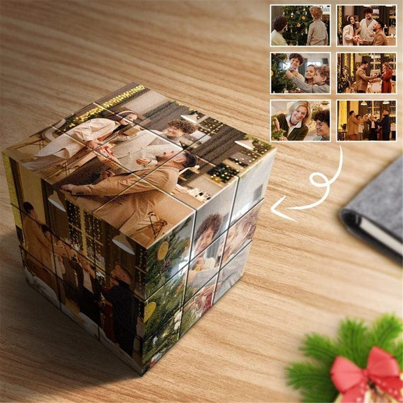 Custom Personalized Rubik's Cube with Photo Customized Magic Puzzle Cube 3D Rotatable Gift for Lover Friends Wedding Home Office Decoration