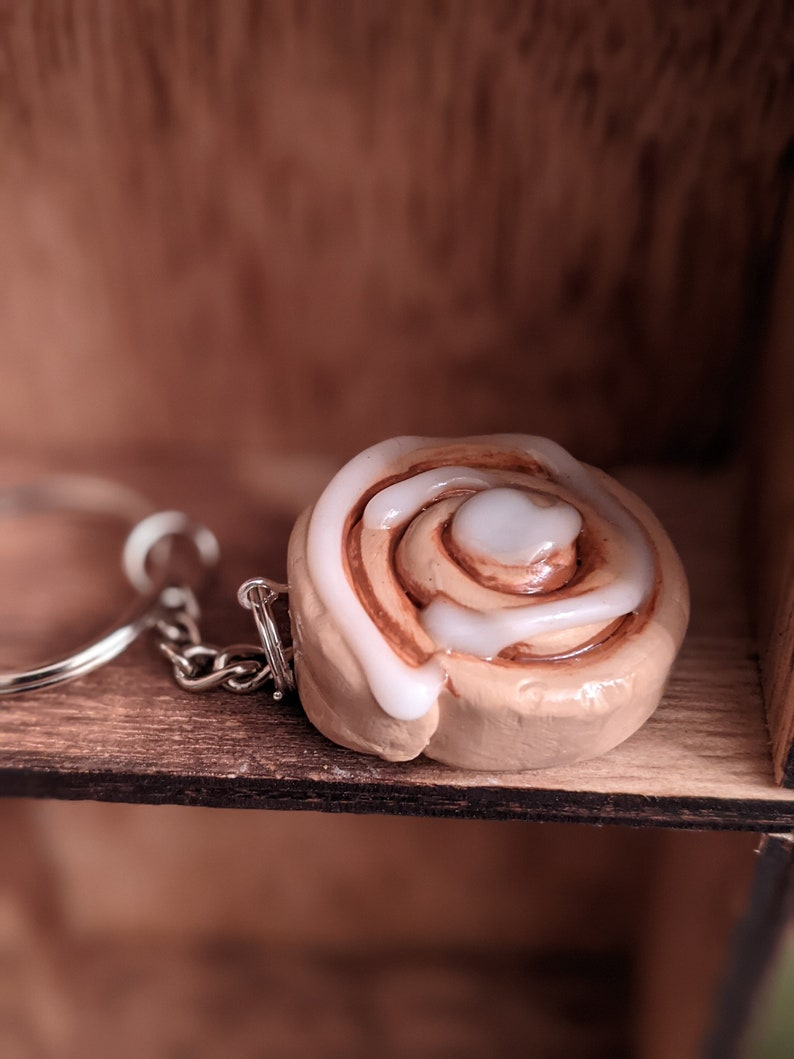 Cinnamon Bun Charm Cinnamon Roll Miniature Food Jewelry Polymer Clay Food Jewelry