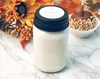 Caramel Apple Candle, Fall Scented Candle, 16oz Mason Jar Candle, Christian Gift, Autumn Candle, Farmhouse Candle, Long Distance Gift