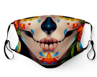 Day of the Dead Face Mask Made in USA Adult & Youth Filter Pocket Washable Breathable Elastic Ear Loop Birthday Anniversary Gift Valentines