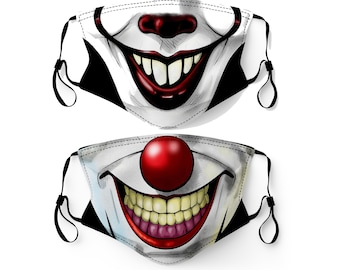 Clown Face Mask Made in USA Adult & Youth Filter Pocket Nose Wire Washable Breathable Elastic Ear Loop Birthday Anniversary Gift Valentines