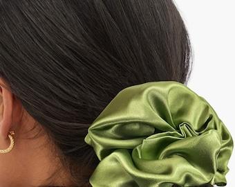 Chartreuse Satin Silk Extra Large Scrunchie, XXL, Big, Scrunchy, Hair Ties, Bandana, Hair Accessories