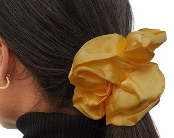 Yellow Oversized Satin Silk Extra Large Scrunchie, XXL, Big, Scrunchy, Hair Ties, Bandana, Hair Accessories