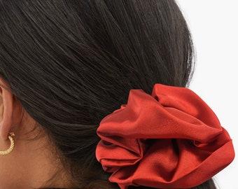 Red Satin Silk Extra Large Scrunchie, XXL, Big, Scrunchy, Hair Ties, Bandana, Hair Accessories