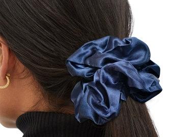 Blue Oversized Satin Scrunchie, Large, XL, Big, Scrunchy, Hair Ties, Bandana, Hair Accessories