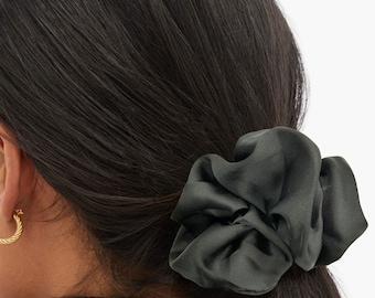 Jumbo Black Satin Silk Extra Large Scrunchie, XXL, Big, Scrunchy, Hair Ties, Bandana, Hair Accessories