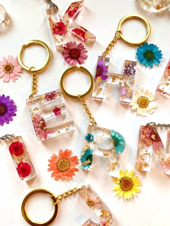 Floral Letter Keychains