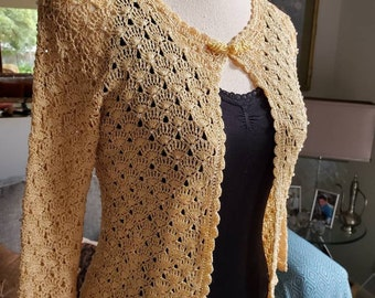 Ladies Vintage Crochet Lace Cardigan Boho Festival XS 6 8