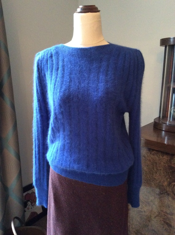 Vintage Blue 80s 90s Sweater Jumper Angora Wool