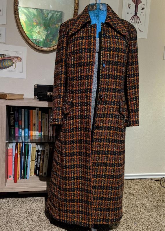 Vintage Faye Carp coat orange brown lurex lined large