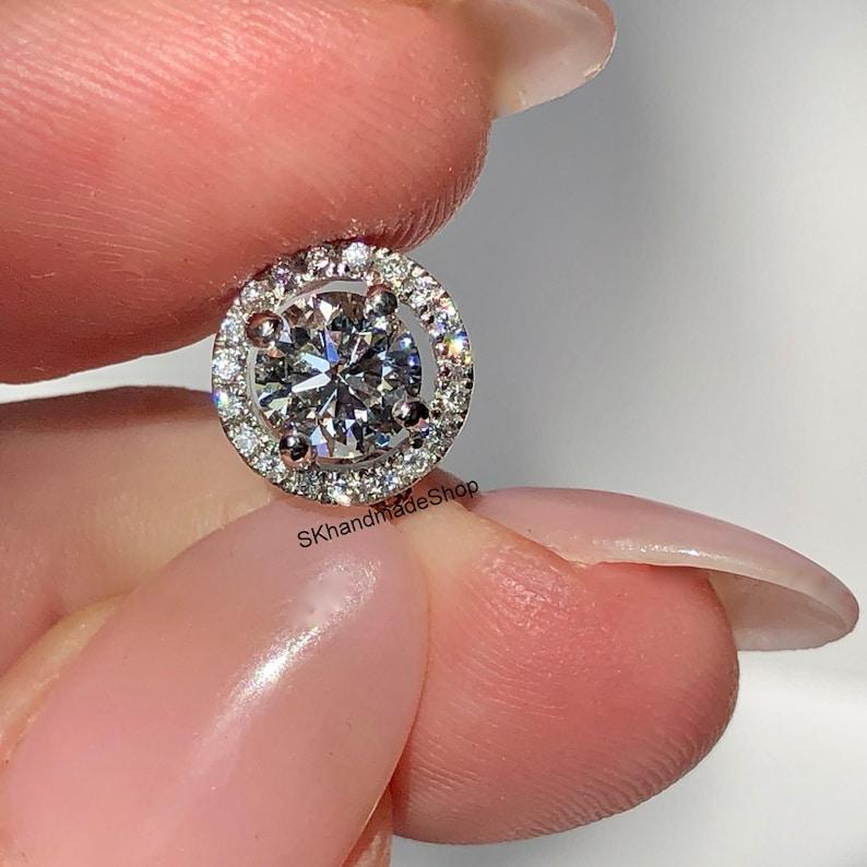 Simulated Diamond Pave Halo Pendant 1.00 Ct Round Cut Moissanite Pendant Wedding Pendant In 14K White Gold Colorless Moissanite Pendant