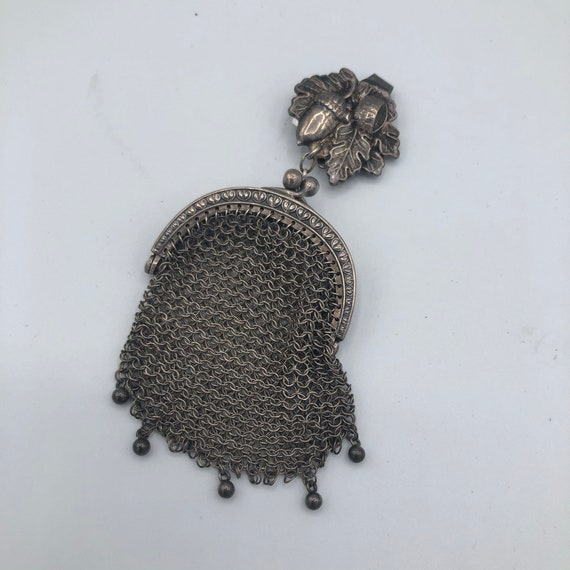 Vintage Chainmail sterling mini purse chatelaine w