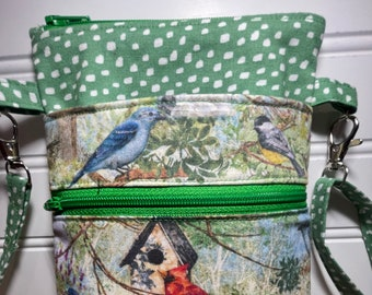 Black Cross Body Clutch for Mom with Hand-embroidered Birds Prints