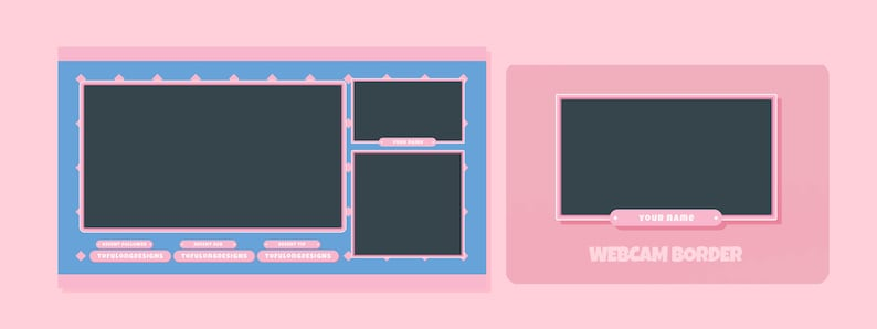 Cute Pattern Twitch Overlay Stream Package Design Pink