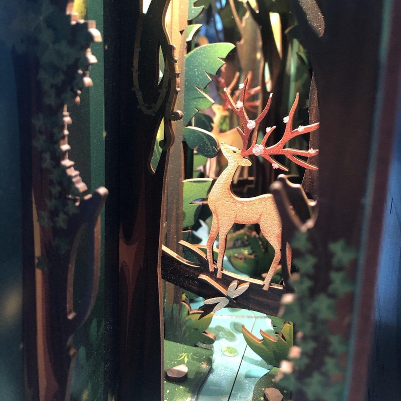 Deer In Forest Book Nook - Book Shelf Insert - Bookcase with Light Model Building Kit