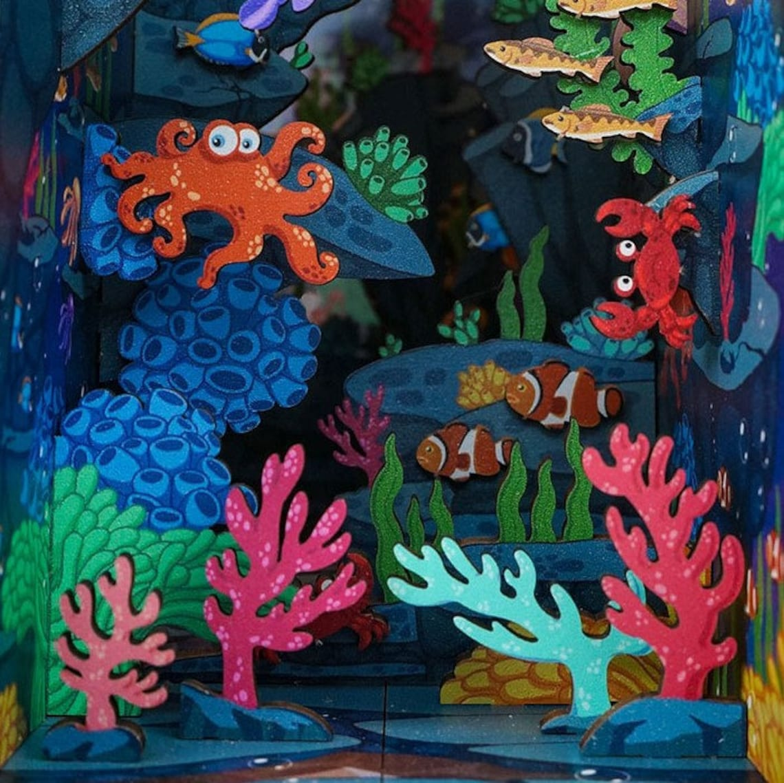 Under Sea Book Nook - Ocean Book Shelf Insert - Bookcase with Light Model Building Kit and Led Sensor