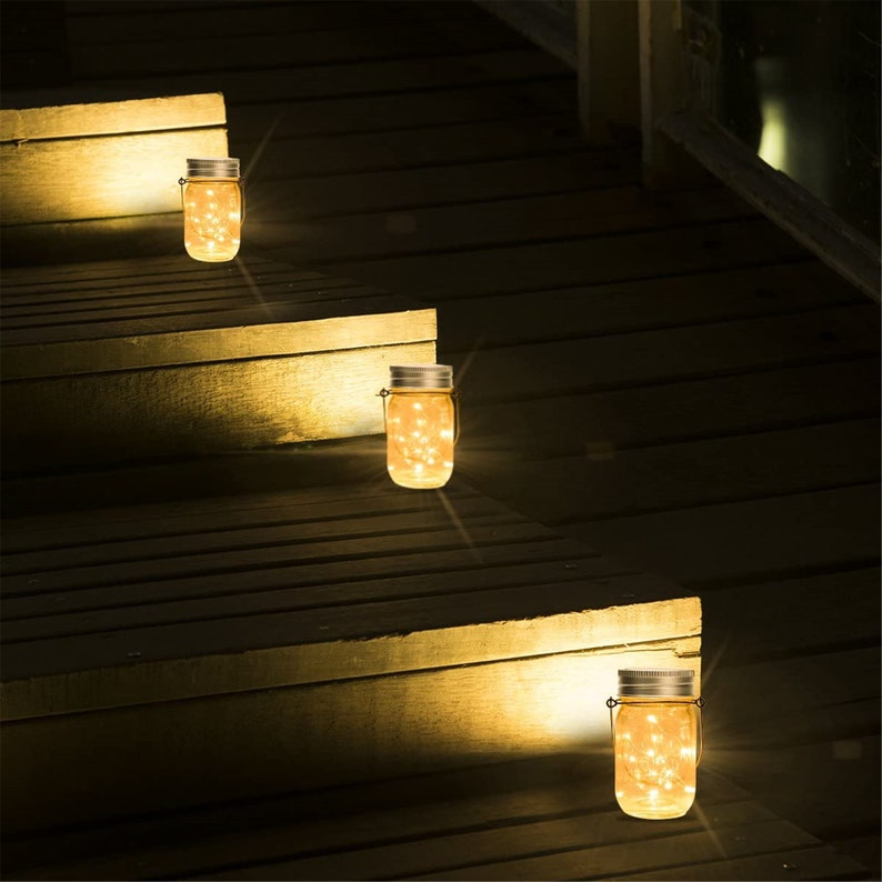 Appendere Solar Mason Jar Lid Lights 6 Pack 15 Led String image 4
