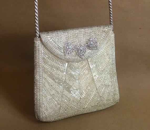 Vintage LUMY Japan beaded bag - 16x14x16cm