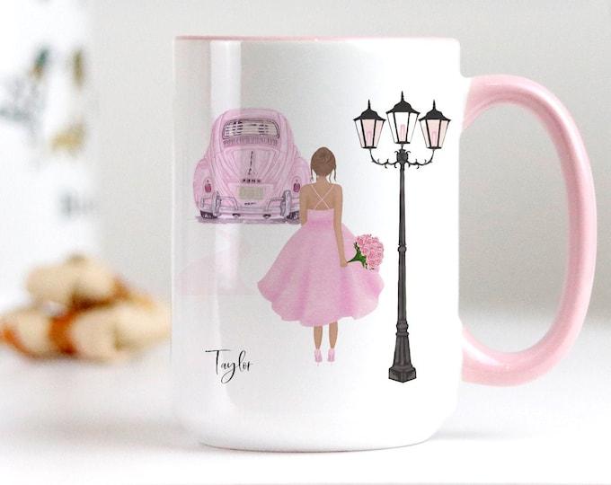 Pink Aesthetic Coffee Mug Designs, Fashion Girl Art Illustration