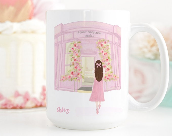 Personalized Name Mug, Customizable Girly Mug, London Coffee Mug, Fashion Illustration Coffee Mug