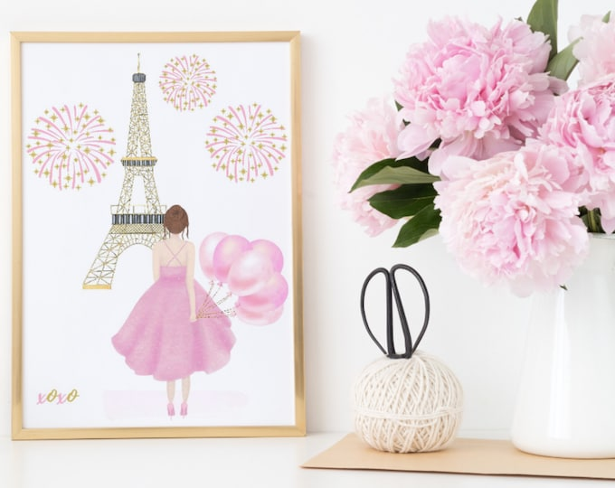 Custom Printable, Room Decor, Girl in Paris