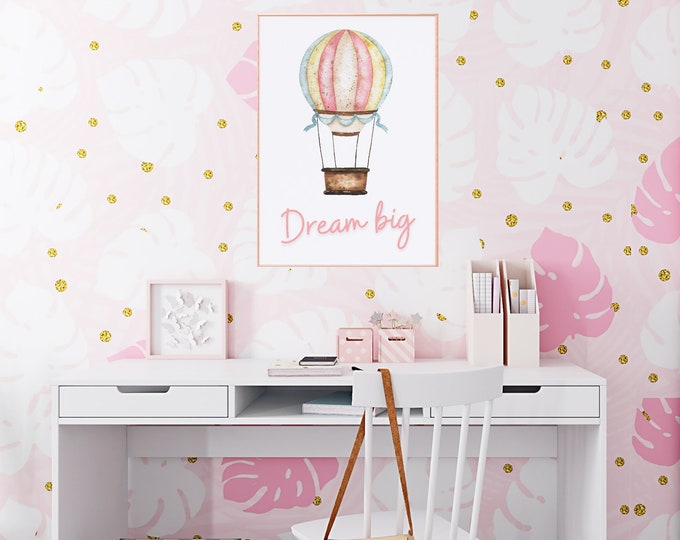 Inspirational DREAM BIG wall art printable download with a watercolour illustration of a hot air balloon, Such a lovely gift idea!