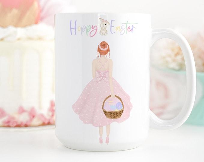 Custom Girl Mug, Personalized Hoppy Easter Coffee Mug, Pastel Pink Easter Aesthetic, FREE Easter printable download included!