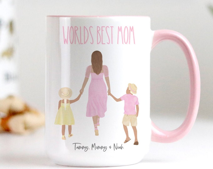 Personalized WORLDS BEST MOM Mothers Day Gift Daughter from Mom and Dad etc, Wife Easter Gift, Coffee Mug Design, Watercolor Pink Aesthetic