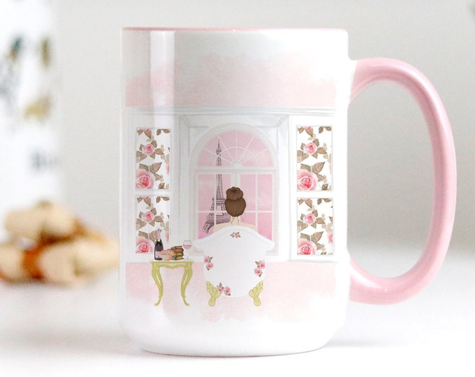 Custom Paris Coffee Mug, Soft Pink Aesthetic, Fashion Watercolor Illustration, Personalize yours with a name!