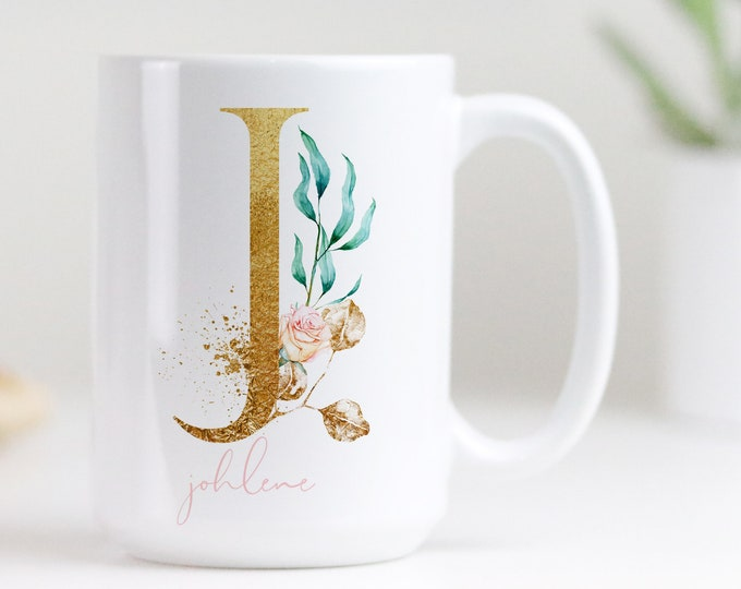 Personalized Monogram Mug, Junior bridesmaid proposal gift idea, Custom Gold Initial Floral Mug, Free printable included!