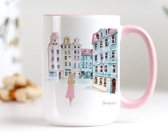 Custom soft pink aesthetic coffee mug, Fashion Mug, Watercolor Illustration Design