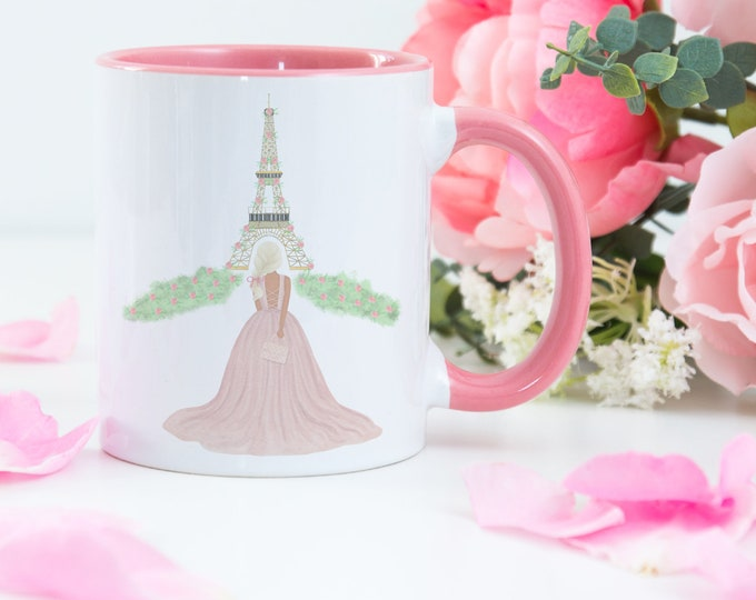 Custom Girl Coffee Mug, Eiffel Tower Paris