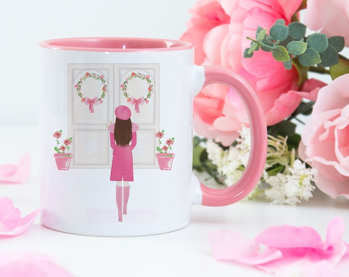 Pink Aesthetic Girly Mug, Custom Girl Pink Coat
