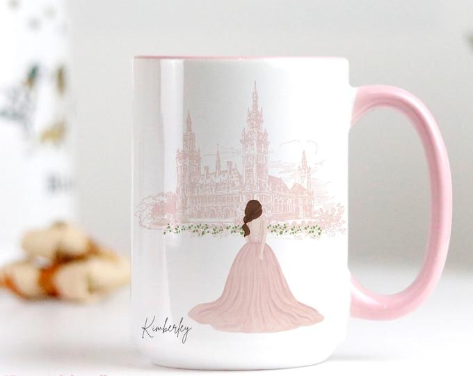 Custom coffee mug design, Girly watercolour fashion illustration, Personalise with a name