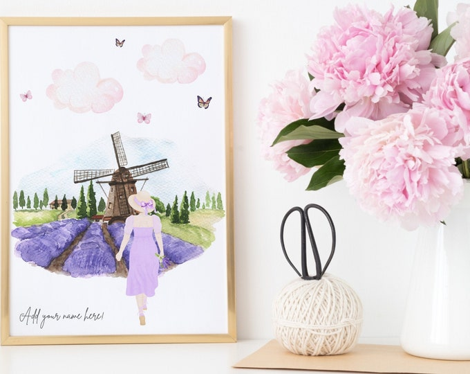 Custom and personalised digital download, Lavender field aesthetic, The perfect girly gift for the girl who loves to travel!