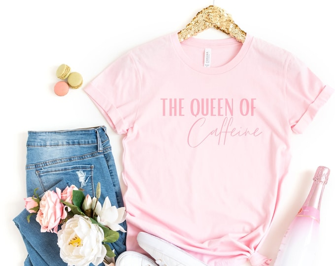 The Queen of Caffeine pink crewneck womens tee, Pastel pink aesthetic tshirt