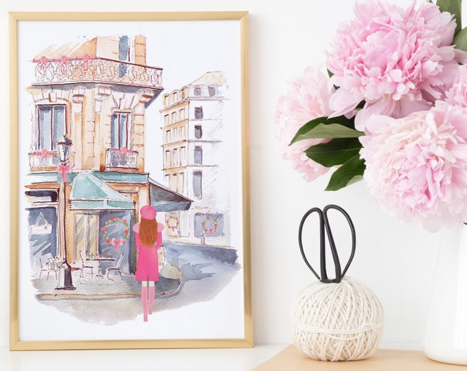 Custom Printable Wall Art, Girl in front of a French Bistro