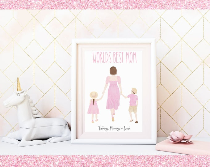 Custom Pastel Aesthetic Art Printable Download WORLDS BEST MOM, Personalized Watercolor Illustration, Choose your characters and names!