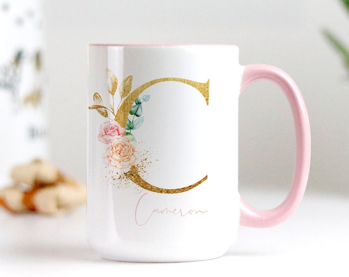 Custom Gold Initial Floral Mug, Pink Floral Monogram Mug, Personalized Monogram Coffee Cup, Soft Pink Aesthetic, Free printable included!