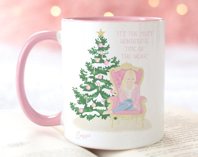 Its the most wonderful time of the year custom girl pink Christmas coffee mug, Sweater weather hot cocoa mug, pink aesthetic Christmas mug