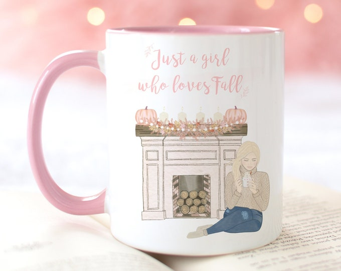 Customizable Just A Girl Who Loves Fall Coffee Mug, Personalize with a name and choose a your girl, Sweater Weather Coffee Mug