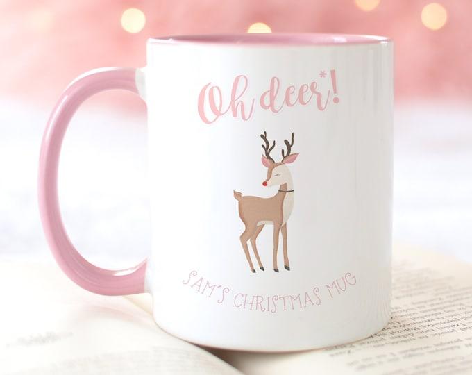 Oh Deer Christmas Mug, Pink Aesthetic