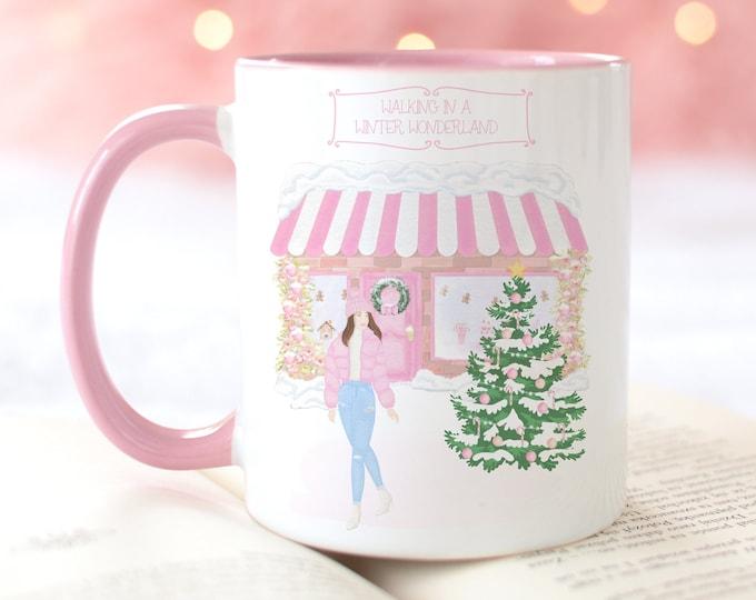Walking in a winter wonderland personalised pink Christmas mug, Hot chocolate Xmas mug, Personalized gift for Christmas