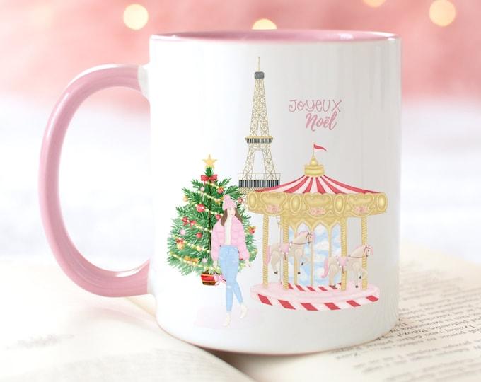 Personalised JOYEUX NOEL Christmas in Paris mug, Sweater weather hot cocoa mug, pink aesthetic Christmas mug