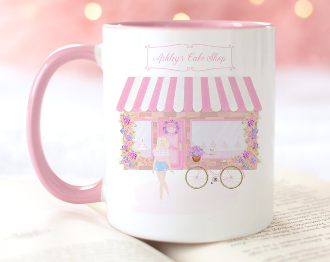 Custom pink watercolor cake shop and fashion girl illustration coffee mug design, Personalise with a name too!