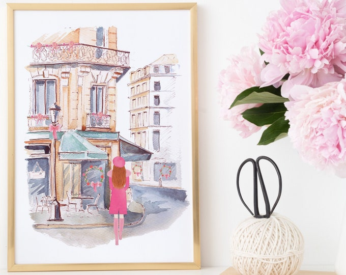 Custom Girl Art Print, French Bistro Paris