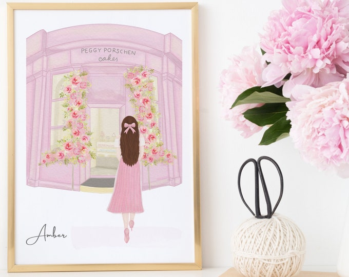 Custom Printable, Girly Room Decor, London Cake Shop