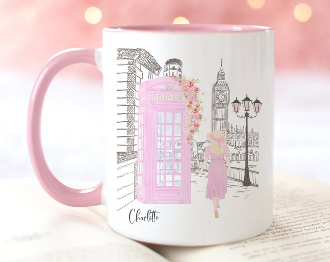 London Fashion Mug, Coffee Mug Design, Soft Pink Aesthetic, Watercolor Illustration, Personalized Mug, Custom Girl